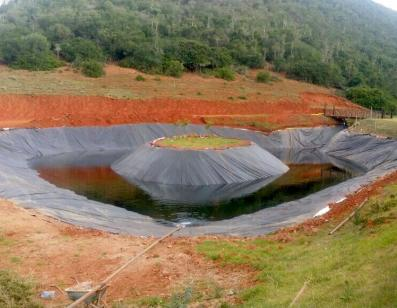 Earth Dam Liner with water in
